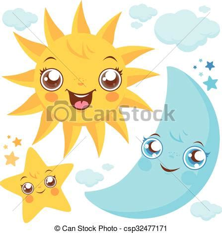 sol luna y estrellas imagui ilustraciones vectoriales de sol estrellas luna vector