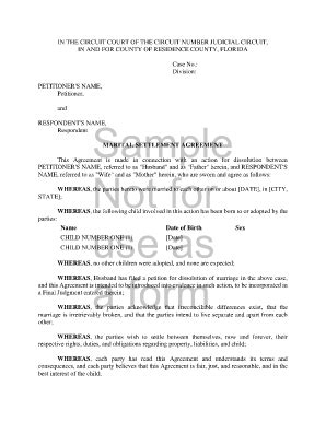 Sle Marital Settlement Agreement Provisions Forms And Templates Fillable Printable Florida Settlement Agreement Template