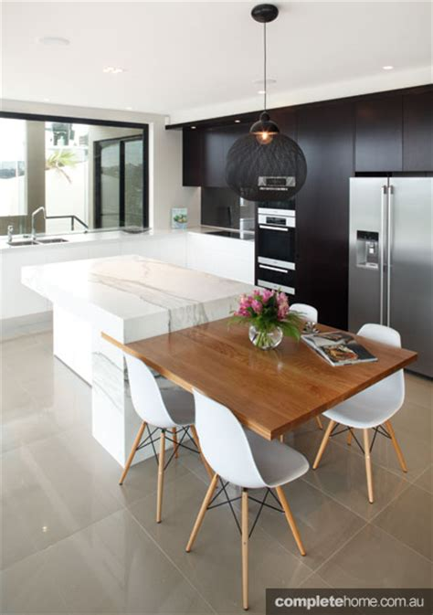 integrated benchtop dining table from of kitchens