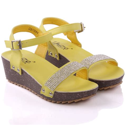 Sendal Wedges 13 Unze Laxi Wedge Formal Sandals Uk Size 1 13 Yellow