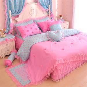 Girls Ruffle Comforter Pink Blue Polka Dot Rose Girls Lace Tulle Ruffle Bedding