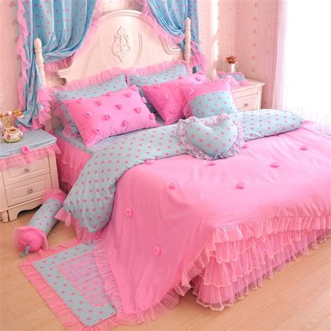 pink bedding set pink blue polka dot rose girls lace tulle ruffle bedding
