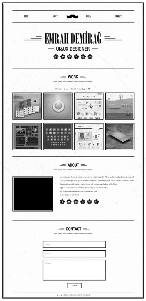 Retro Single Page Portfolio Template Psd Free Psds Sketch App Resources For Designers Free Ux Portfolio Template