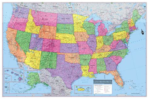 america road map poster usa united states map poster 36x24 rolled canvas