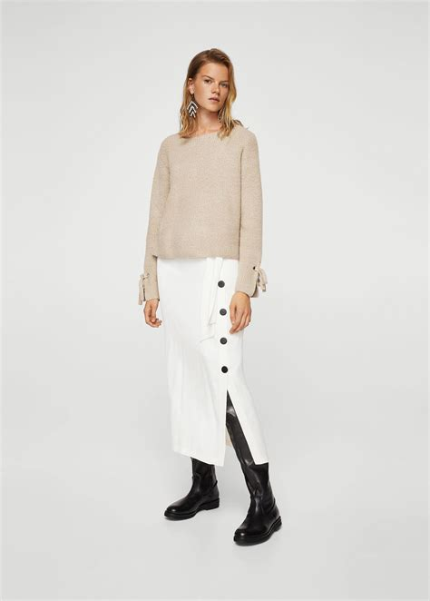 Bow Textured Jumper Mango lyst mango bow textured sweater