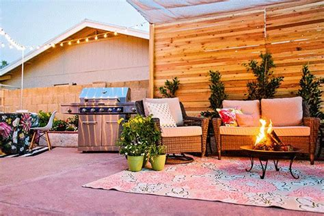 outdoor seating area with cover before and after covered backyard patio design