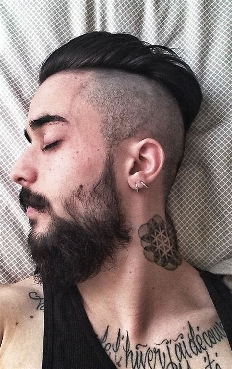 scruffy black beard and mustache nice neck tattoo tattoos