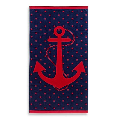 beach towels bed bath and beyond jacquard anchor and star oversized beach towel bed bath