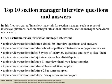 interview section top 10 section manager interview questions and answers