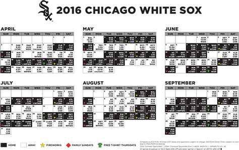 chicago white 2016 printable schedule calendar template 2016
