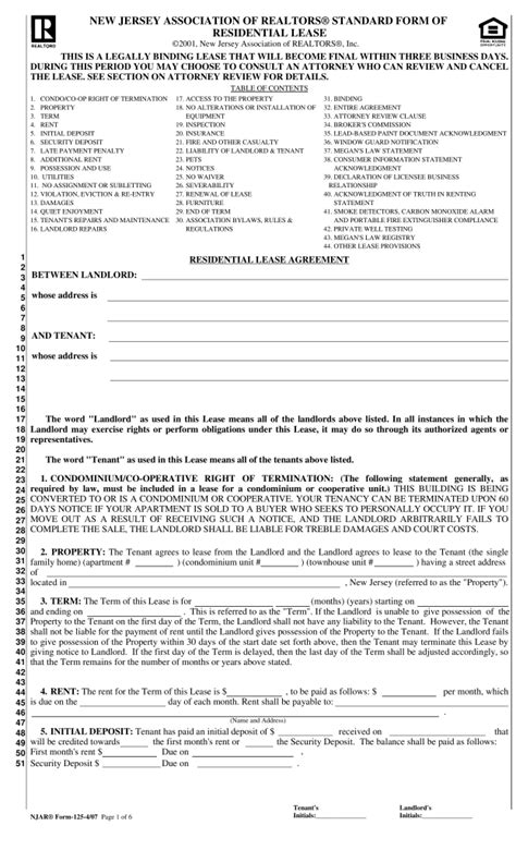 printable rental agreement nj free new jersey association of realtors lease agreement