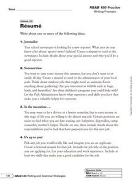 Resume Writing Activities Resume Writing Prompts And Categorizing Information 6th 8th Grade Worksheet Lesson Planet