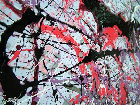 large drip painting pink black  white art pot monsters