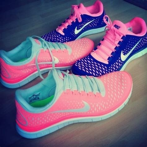 shoes nike free run pink blue mibt mint comfy