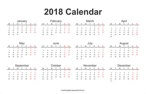 2018 Free Printable Calendar Free Printable Calendar 2018 With Holidays In Word Excel Pdf
