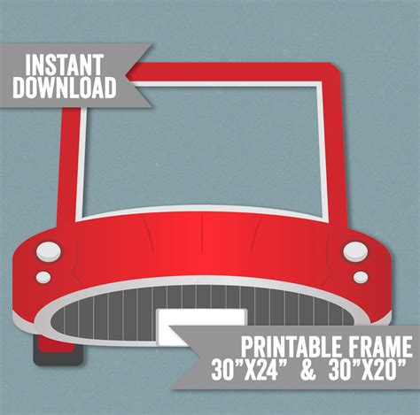 cars photo booth layout car frame prop printable red car photo booth frame kid s