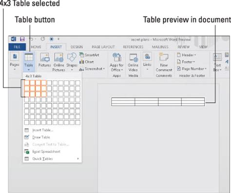 how to a table in word how to create tables in word 2013 dummies