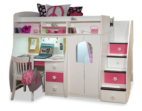 girls loft bed with desk loft beds with stairs and desk newsonair org