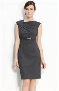 calvin klein belted asymmetrical sheath dress in gray