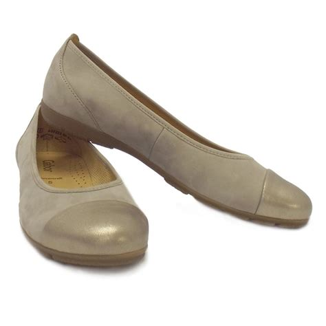 flat shoes gold gabor shoes pleasure flat ballet in gold and