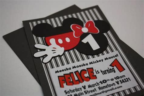 Handmade Mickey Mouse Birthday Invitations - handmade mickey mouse inspired happy birthday