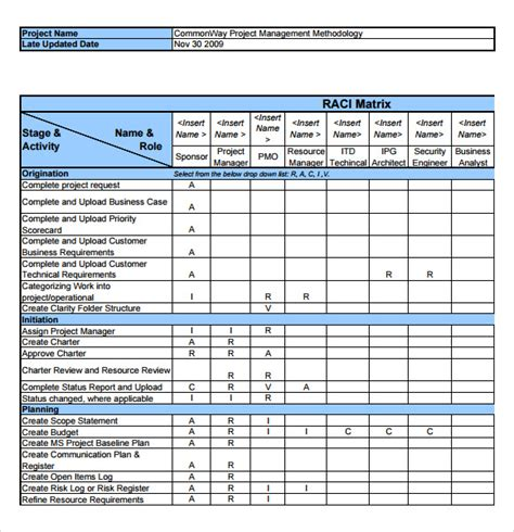 sle raci chart 7 free documents in pdf word excel