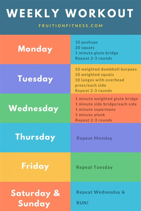 the get it done weekly workout plan fruition fitness