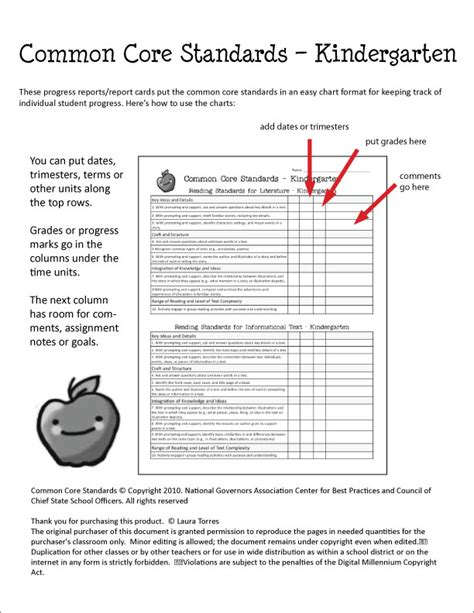common core report card template