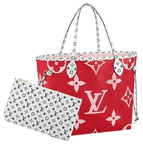 louis vuitton neverfull bag giant monogram redpink mm