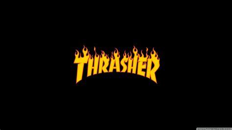 thrasher flaming logo 4k hd desktop wallpaper for wide