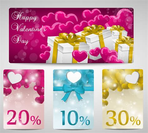 Valentines Day Gift Cards - shiny valentines day gift cards set free vector in encapsulated postscript eps eps