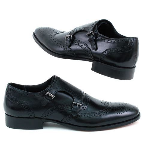 mens leather dress shoes buckle monk slip on
