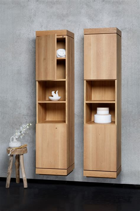 tall wooden bathroom cabinets oak cadence bathroom cabinet by ethnicraft