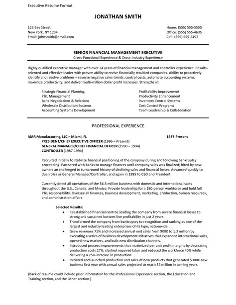 Resume templates executive resume template and project manager resume