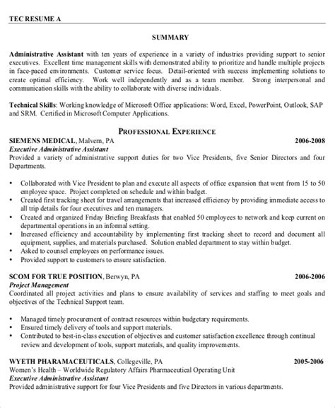 executive assistant resumes examples examples of resumes