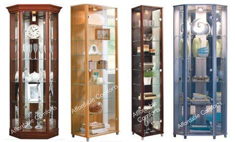 Corner Display Cabinet With Glass Doors Ex Display Flat Pack Single Corner Glass Door Display Cabinet Ebay