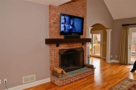 mount tv brick fireplace tvs angeles and brick fireplaces on