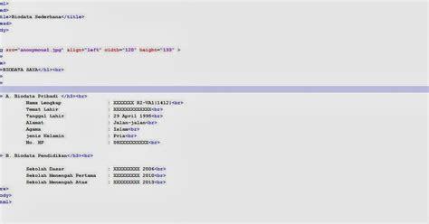 Membuat Html Biodata Sederhana | membuat biodata sederhana html ri va1 1412