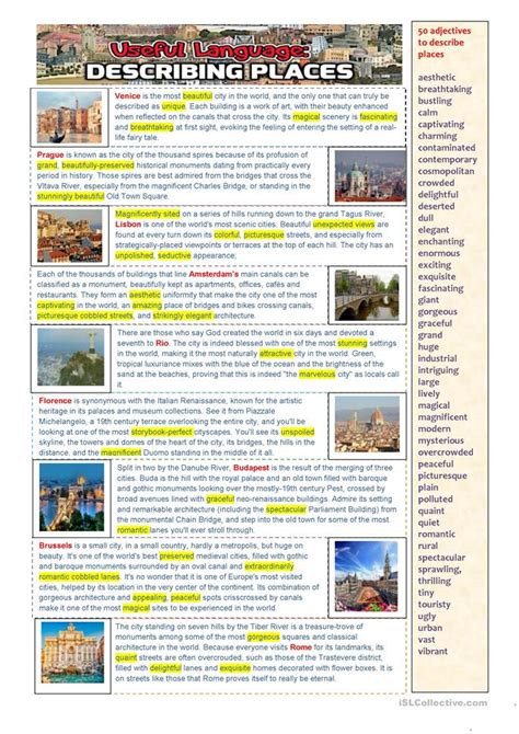 Esl Duties by Useful Language Describing Places Worksheet Free Esl Printable Worksheets Made By Teachers
