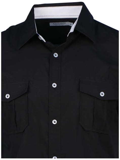 White Zipper Pocket Shirt 2 mojito collection s 2 pocket sleeve button shirt ebay