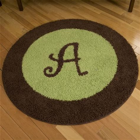 Initial Rugs Nursery by Chirp 4 Foot Border Rug With Initial Carousel Designs