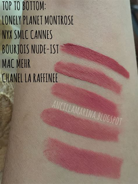 Nyx Cannes By Bourjois Indonesia comparison swatches between chanel la raffinee mac mehr