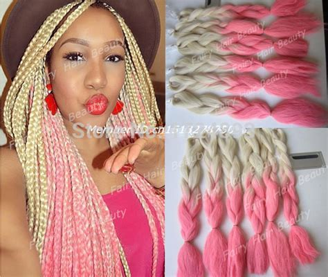 blonde pink black braids top quality 20 quot blonde pink new ombre color synthetic