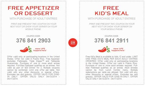 chilis printable coupon free appetizer 35 best ideas about chilis coupons on