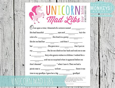 printable unicorn party games instant download magical rainbow unicorn mad libs game