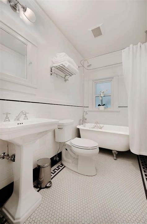 black and white border tiles for bathroom black and white powder room vintage bathroom ore studios
