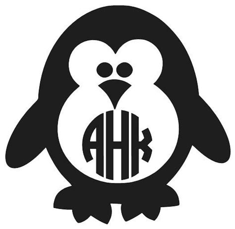 Stiker Pinguin penguin decal monogram decal personalized penguin decal penguin sticker vinyl decal car