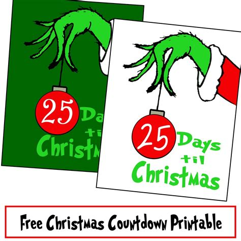 printable grinch bookmarks free grinch hand christmas countdown printable