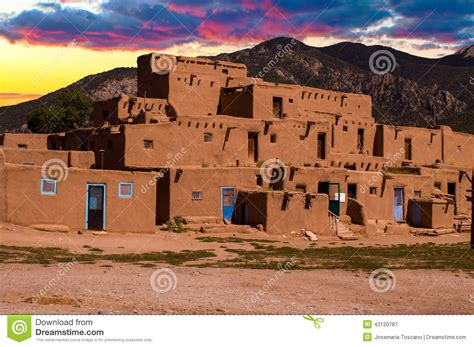Pueblo Adobe Homes adobe houses in the pueblo of taos new mexico usa stock