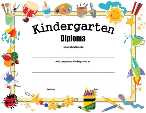 Kindergarten Diploma Template by Kindergarten Diploma Free Printable Allfreeprintable